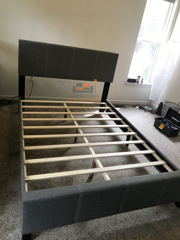 Brand New Full Size Grey Linen Upholstered Platform Bed Frame