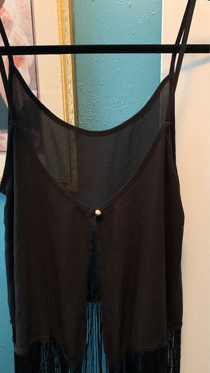 Medium tank top see through shirt with fringe for Sale in Richmond, TX