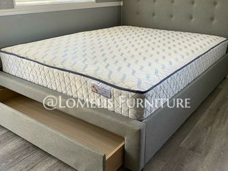 Queen Gray Tufted Bed W. Drawer And Mattress Included for Sale in Long Beach,  CA
