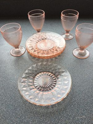 Vintage pink glass dessert plates and glasses 4 of each for Sale in Amesbury, MA
