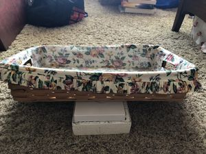 Longaberger Tray basket with cloth and plastic liners 20 x 12 for Sale in Oceanside, CA