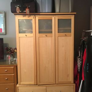 Pine Wardrobe Closet With Drawers for Sale in Jersey City, NJ