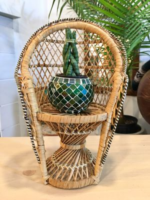 Vintage Bamboo Rattan Wicker Plant Stand Minature Peacock Chair Plant Stand - Pick Up OC or LA for Sale in Aliso Viejo, CA