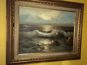 Claude Terray Painting mid century artist beach ocean waves birds for Sale in Green Lake, WI