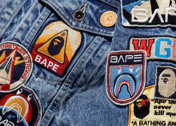 BAPE Crazy Patch Denim Jacket Indigo for Sale in Atlanta,  GA