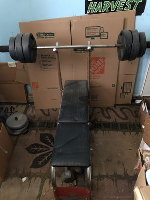 Weight Bench with bar and weights for Sale in Anaheim, CA