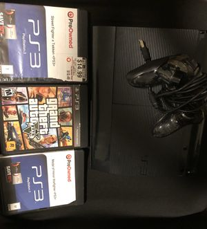 PS3 with a controller and 3 games for Sale in Herndon, VA