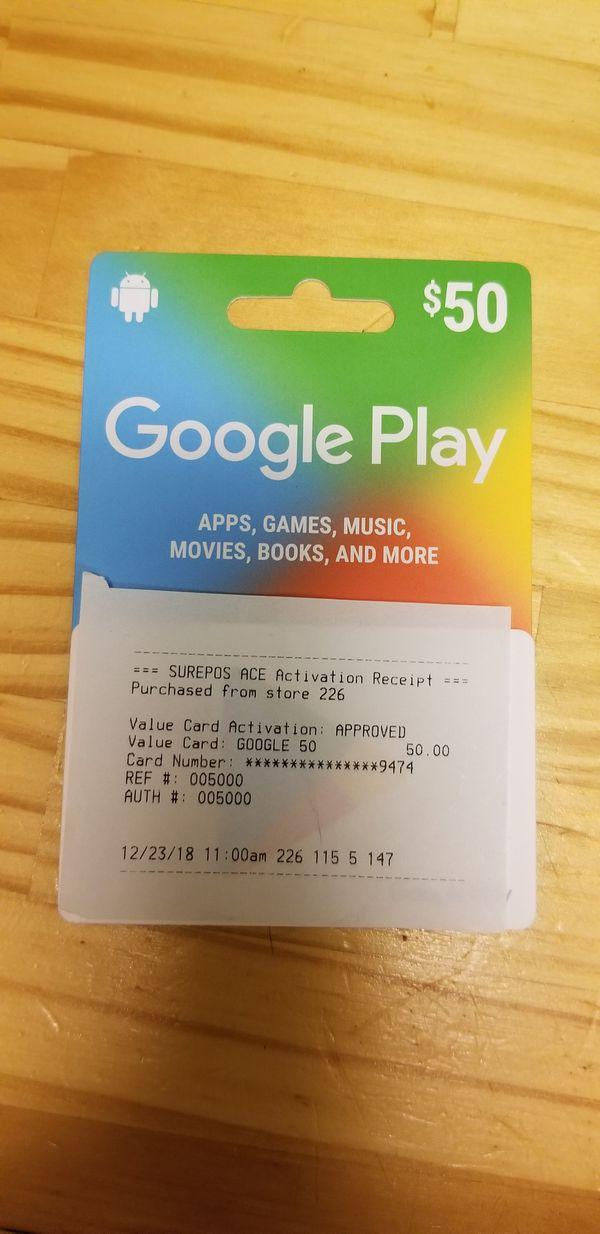 $50 Google play card