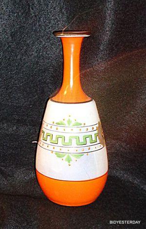 """Antique Victorian orange white greek key design Bristol art glass flower vase 6-8"""" H for Sale in Saginaw, MI"""