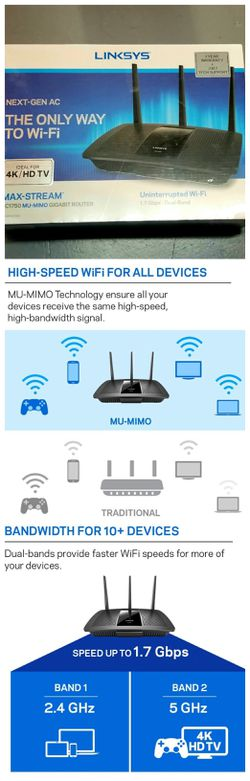 Linksys Max-Stream EA7300 MU-MIMO Dual-Band Fast Wi-Fi Router for Home or office for Sale in Plantation,  FL