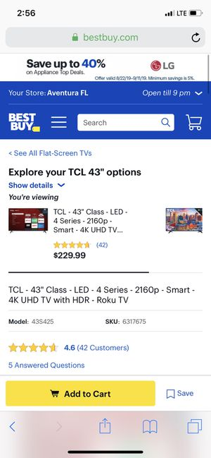 TCL ROKU TV for Sale in Miami Shores, FL