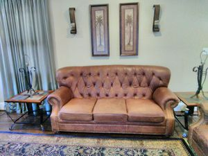 Leather sofa, slate & wrought iron end tables, matching lamps (no shades). for Sale in Baltimore, MD