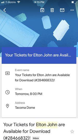 Elton John Tickets - 2 PENDING PICKUP for Sale in Tacoma, WA