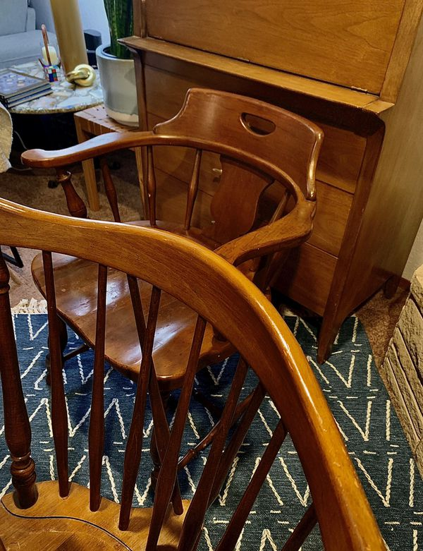 Rare SET of Ethan Allen Early American FIDDLEBACK DINING CHAIRS AND TABLE