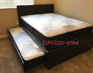 👉 Full_Twin Expresso or white Trundle beds with 2 mattresses included. for Sale in Clovis, CA