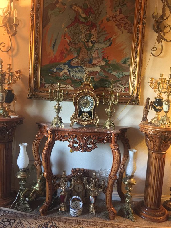 Italian clock and candelabra