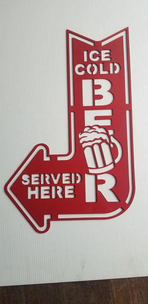 Ice Cold Beer Served here CNC Plasma Cut Wal Art Man Cave Sign for Sale in Acworth, GA