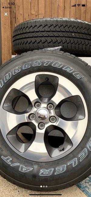 Like New Keto Factory Rims And Bridgestone Tires with 90% tread 2019 Rines y llantas 2016 Jeep 2017 JK 2015 2016 wrangler 2014 Jku 2013 rines 2011 y for Sale in Dallas, TX