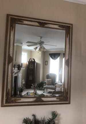 Golden/white antique beveled mirror for Sale in Fuquay Varina, NC