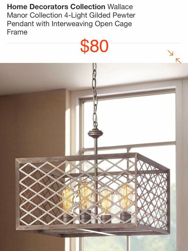 Wallace Manor 4 Light glided Pewter Pendant with open cage