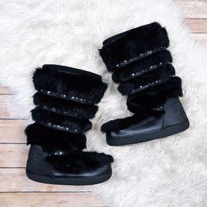 Bebe | Sport Black Real Rabbit Fur Winter Boots- SZ 6 for Sale in Las Vegas, NV