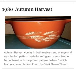 """Vintage PYREX """"Autumn Harvest"""" mixing bowl for Sale in Fairfield, CA"""