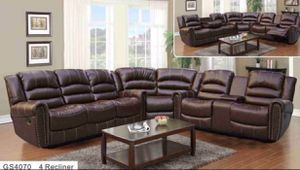 New baseball stitch brown bonded leather all reclining sectional couch with wedge for Sale in Renton, WA