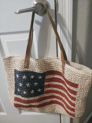 Straw Studio Beach Tote/Bag with American Flag for Sale in Tempe, AZ