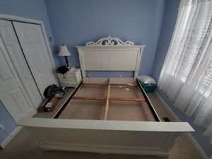 White king bed frame for Sale in Hendersonville, NC