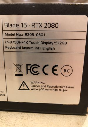 Razer Blade 15 - 15.6 OLED 4K RTX 2080 Max-Q Gaming Laptop for Sale in Seattle, WA