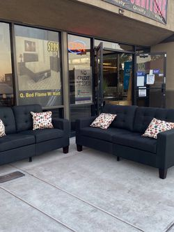Sofa And Love Seat Black Color Fabric Material for Sale in Las Vegas,  NV