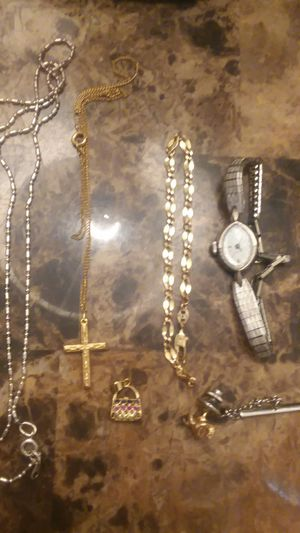 10kt gold womens watch with necklace pendents and bracelet for Sale in Hemet, CA