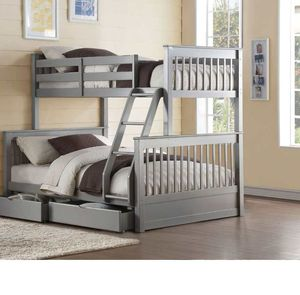 Twin/Full Bunk Bed w/2 Drawers - 37755 - Gray BQG for Sale in Ontario, CA