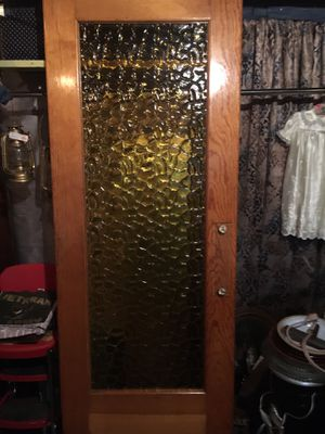 """Incredible heavy antique door with thick textured amber glass, 1960 hardware, auto closer 29.5"""" x 82.5"""". Great door or repurpose glass as a window o for Sale in Sellersville, PA"""