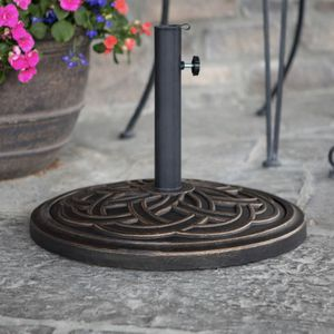 Circle Weave Round Metal Patio Umbrella Base in Antique Bronze for Sale in Plano, TX