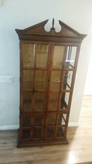Tall antique curio cabinet with glass shelves for Sale in Chino Hills, CA