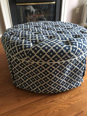 Blue and beige ottoman on wheels for Sale in Alexandria, VA