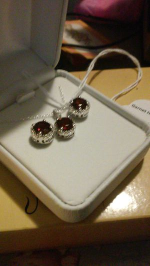 Persian red garnet/diamond/925 necklace & earrings for Sale in Lyndhurst, OH