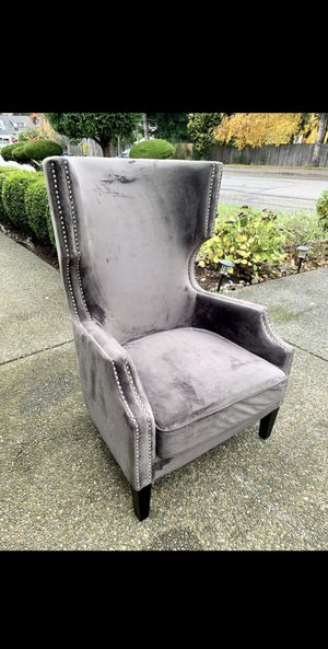 Beautiful Gray Velvet Nailhead Trim Wingback/ HighBack Accent Chair (LIKE NEW CONDITION) for Sale in Newcastle, WA