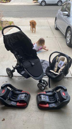 Britax B-Agile stroller, car seat, 2 basses, car seat attachment for stroller and car seat cover for Sale in Chula Vista, CA