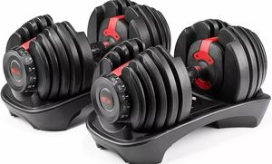 New set Adjustable Dumbells 5 lbs to 52.5 lbs weight sports for Sale in Orlando, FL