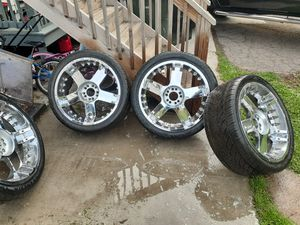 Five lugs Universal with four new tires for Sale in Port Reading, NJ