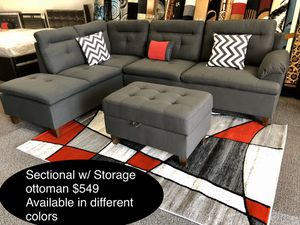 New sofa Sectional with storage ottoman for Sale in Fresno, CA