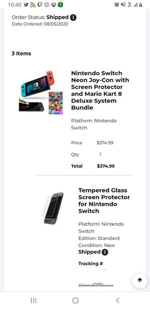 Nintendo Switch with blue and red joycons. $500 comes with mario kart and screen protector. You can also add games from my other listing. for Sale in Baltimore, MD
