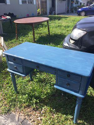Small wooden blue vanity desk for Sale in Oakland Park, FL
