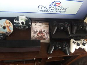 PS3 with 4 controllers for Sale in Conroe, TX