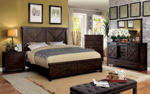 4-Pc Dark Walnut Solid Wood Queen Bedroom Set for Sale in Fresno, CA