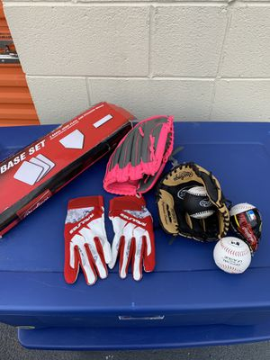 Youth Baseball Gloves & Base Set plus Extra for Sale in Norcross, GA