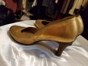 Vintage gold leather and Amber rhinestone heels, size 6 for Sale in Hermon, ME