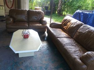 Leather set 2soffas and center table made italy for Sale in Orlando, FL